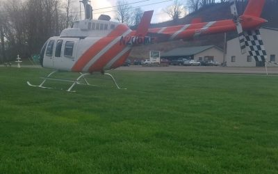 Helicopter Lands at Sharpie's Restaurant for Takeout Order